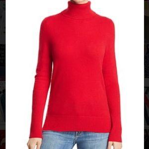 Bloomingdales Aqua Cashmere Red Turtleneck Sweater